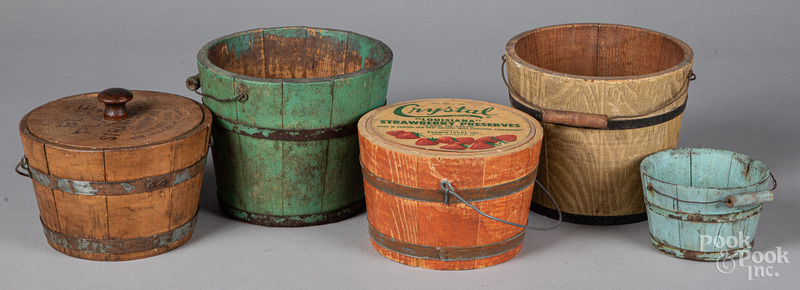 Five painted buckets and advertising pails