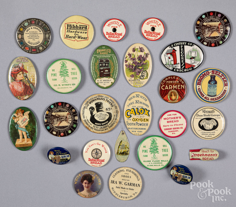 Collection of advertising pocket mirrors, etc.
