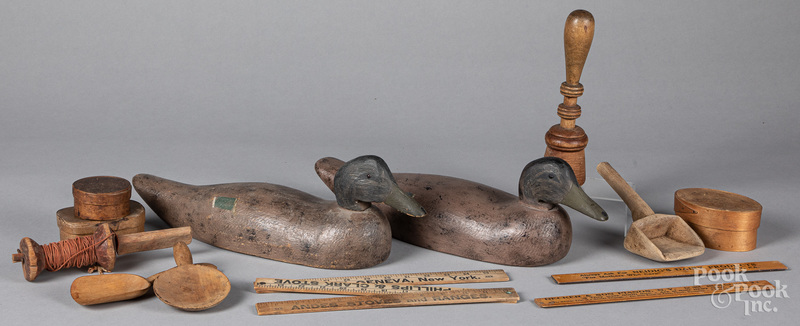Group of woodenware, etc.