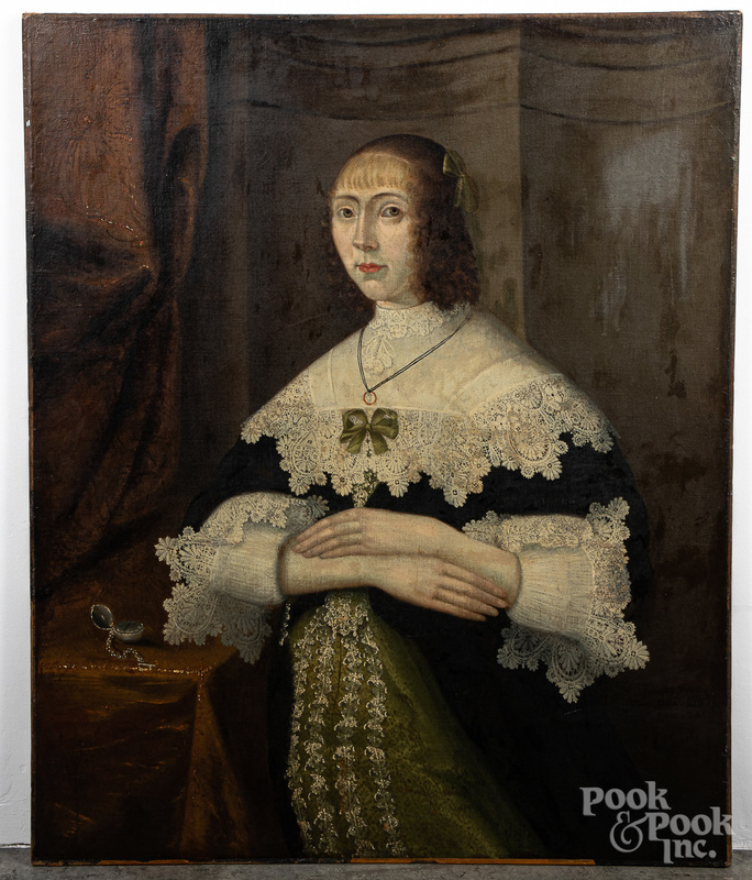English oil on canvas portrait of a woman