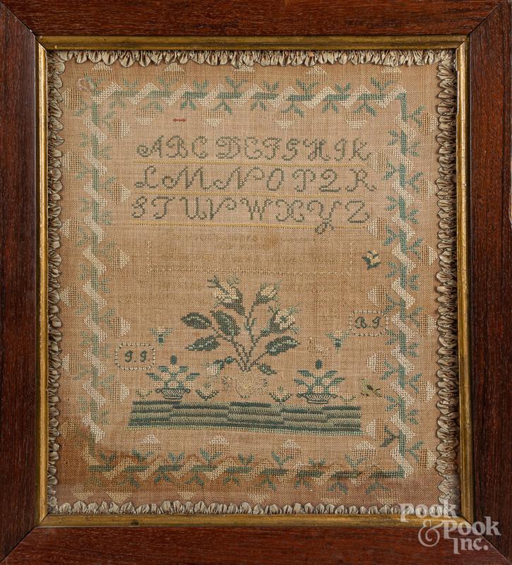 New York silk on linen sampler, dated 1818