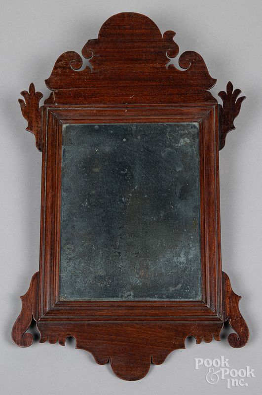 Small Chippendale mahogany looking glass, 19th c.