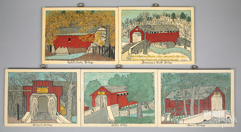 Five oil on board folk scenes of covered bridges