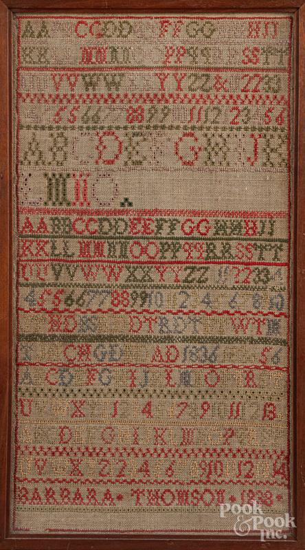 Silk on linen band sampler, dated 1838