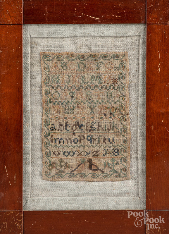 Small silk on linen sampler, early 19th c.
