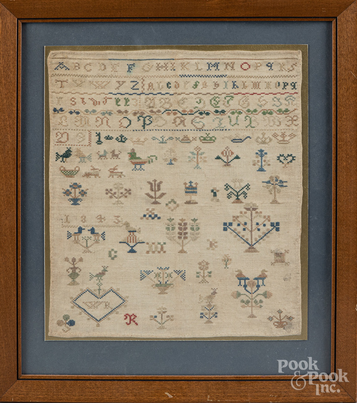 Continental silk on linen sampler, dated 1843