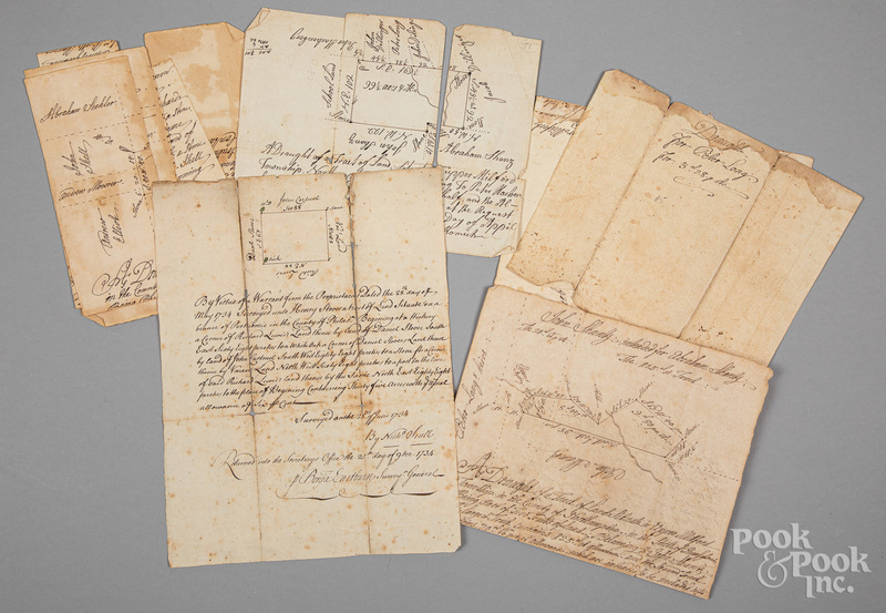 Five hand drawn survey maps, 18th c.