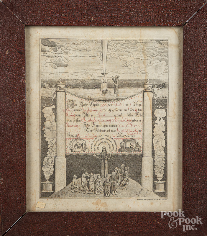 C. F. Egelmann printed certificate