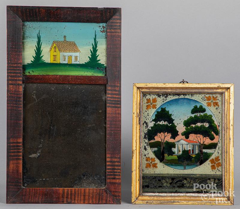 Painted mirror, 19th c., etc.