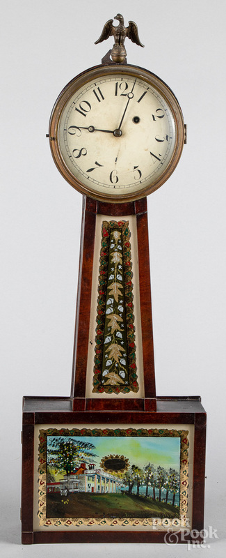 New England Federal mahogany banjo clock