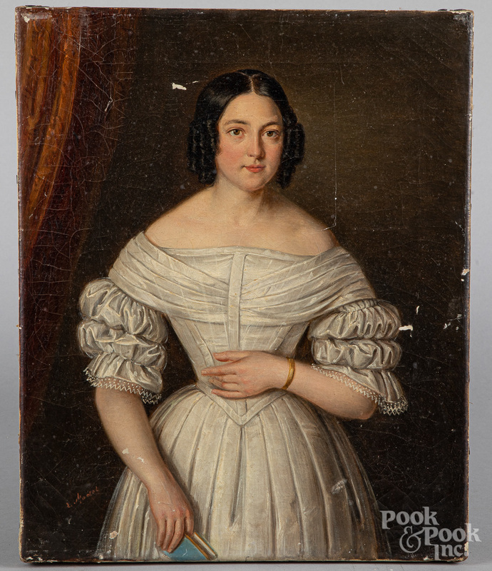 Oil on canvas portrait of a woman, 19th c.