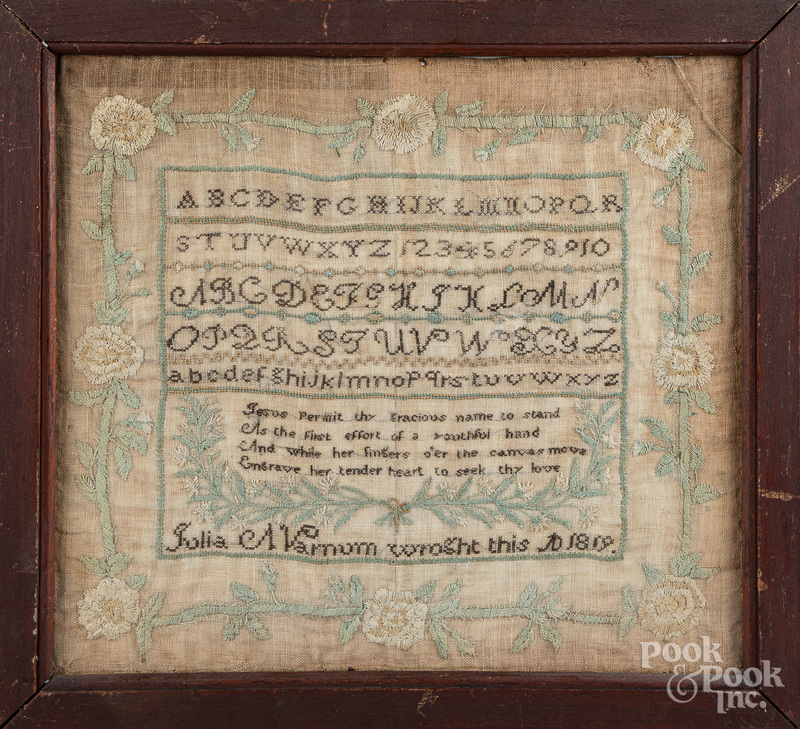 New England silk on linen sampler dated 1819
