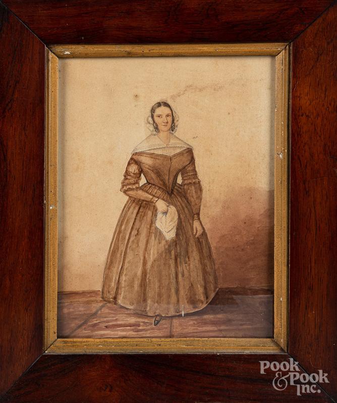 Watercolor portrait of a woman, 19th c.
