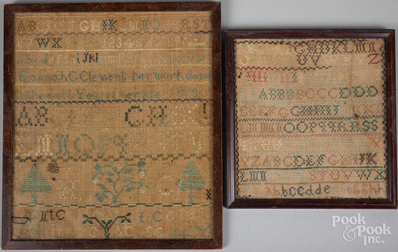 Two silk on linen samplers