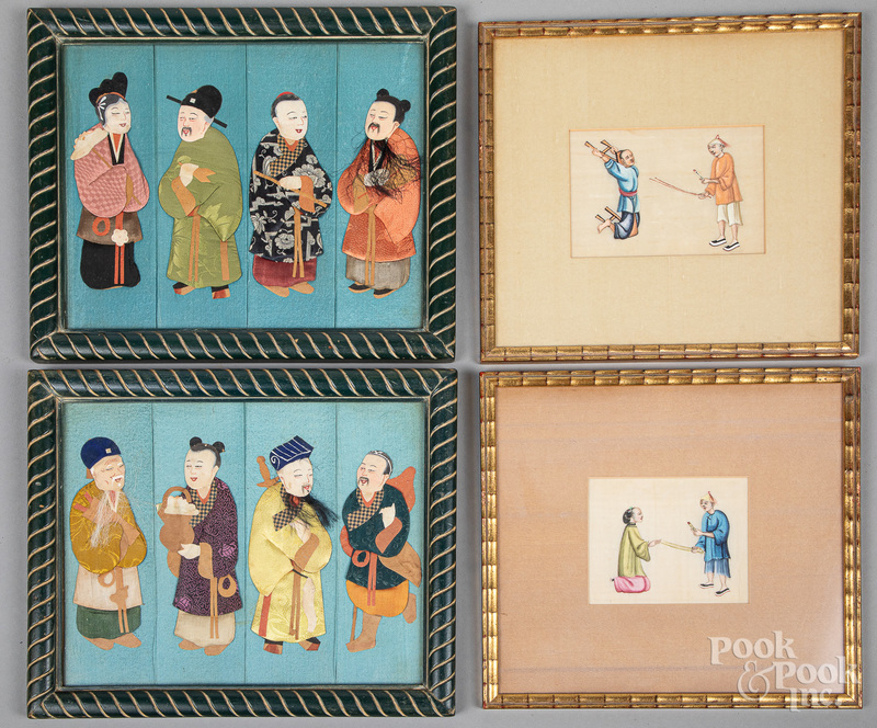 Pair of Oriental silk work pictures, etc.
