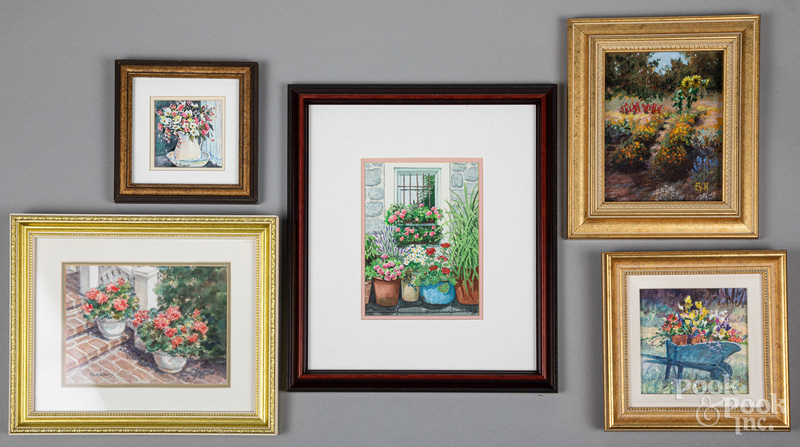 Five small oil and watercolor works