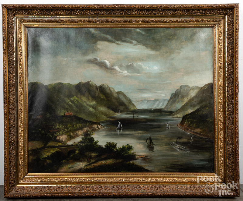 Oil on canvas Hudson River at West Point
