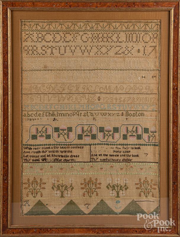 Boston, Massachusetts silk on linen sampler