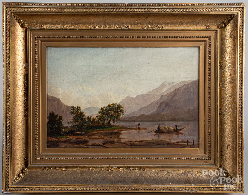 Oil on canvas river landscape, late 19th c.