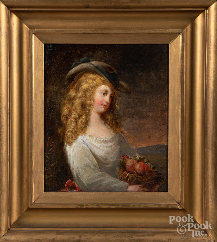 Continental oil on board portrait of a woman