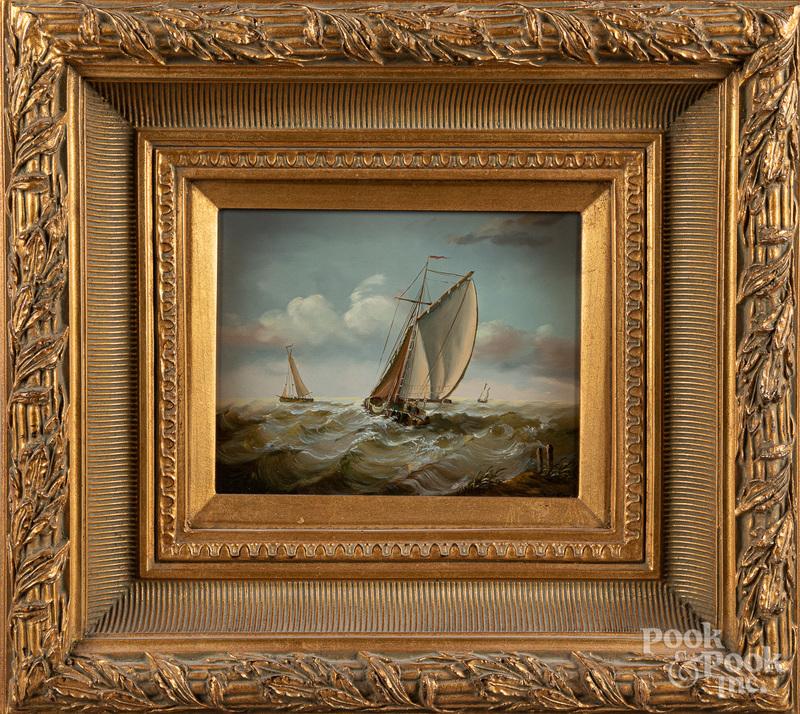 Contemporary oil on board seascape