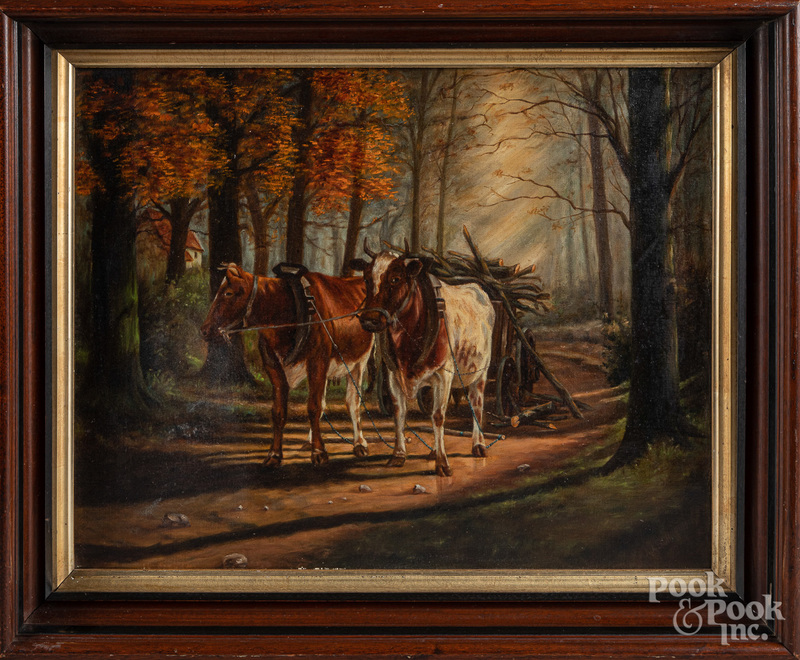 Oil on canvas of cows and a cart, late 19th c.