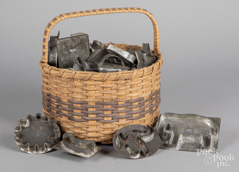 Collection of tin cookie cutters, etc.
