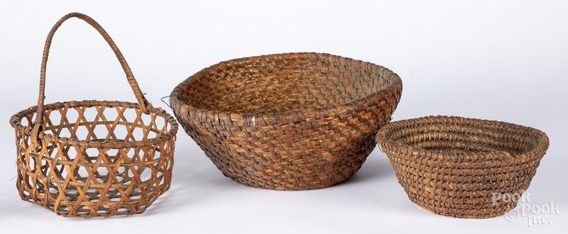 Two rye straw baskets, etc.