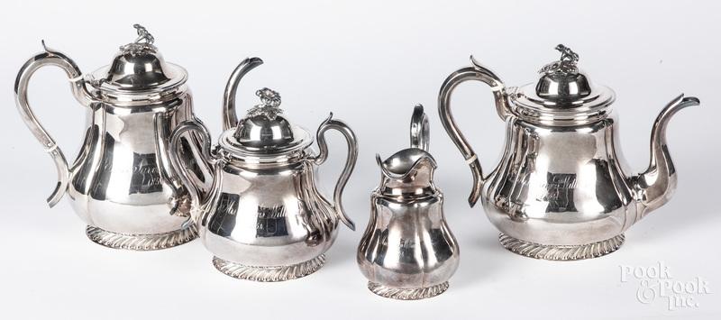 Boston coin silver four-piece tea service