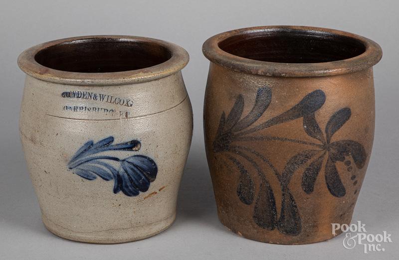 Two Pennsylvania stoneware crocks, 19th c.