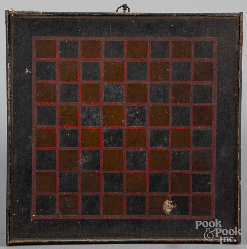Painted double sided gameboard, 19th c.