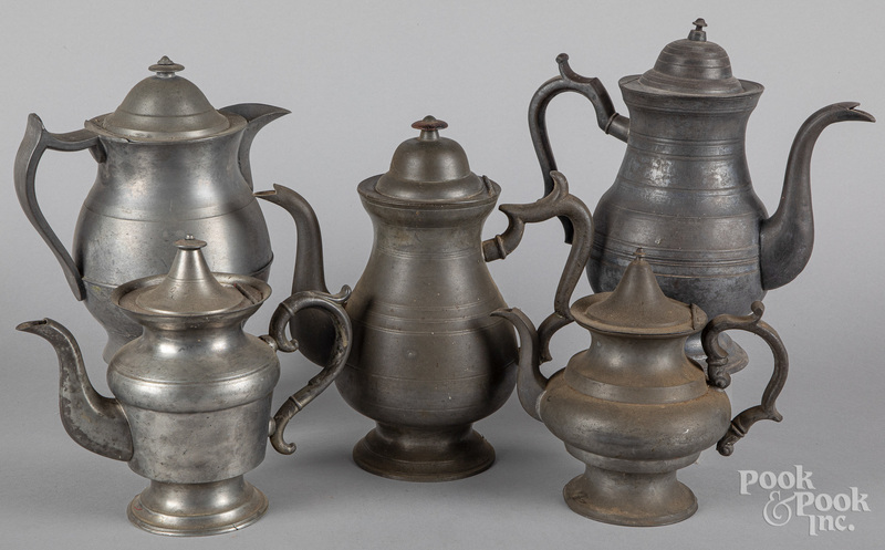 Five pieces of American pewter, 19th c.