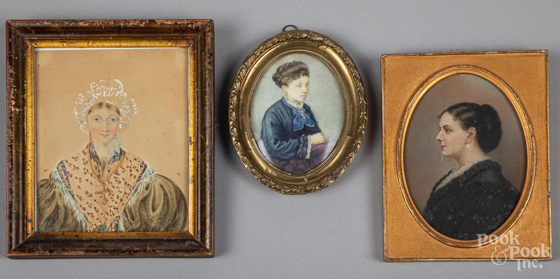 Two watercolor portraits, late 19th c., etc,