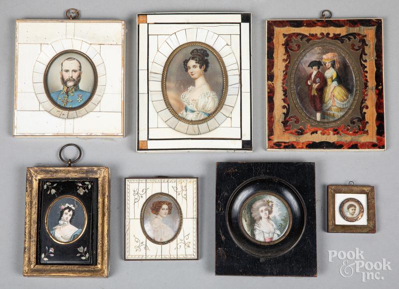 Seven continental miniature watercolor portraits
