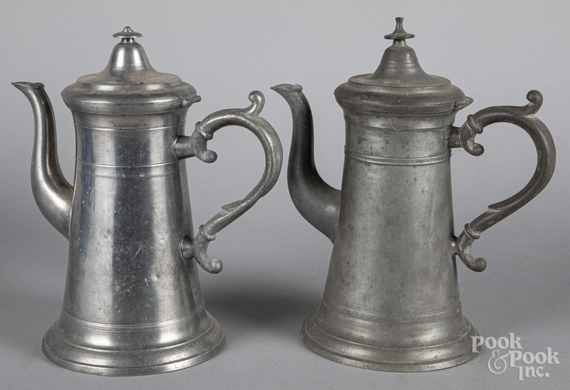 Two American pewter coffeepots, 19th c.
