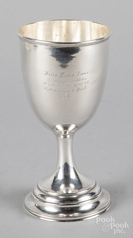 Silver goblet, dated 1864