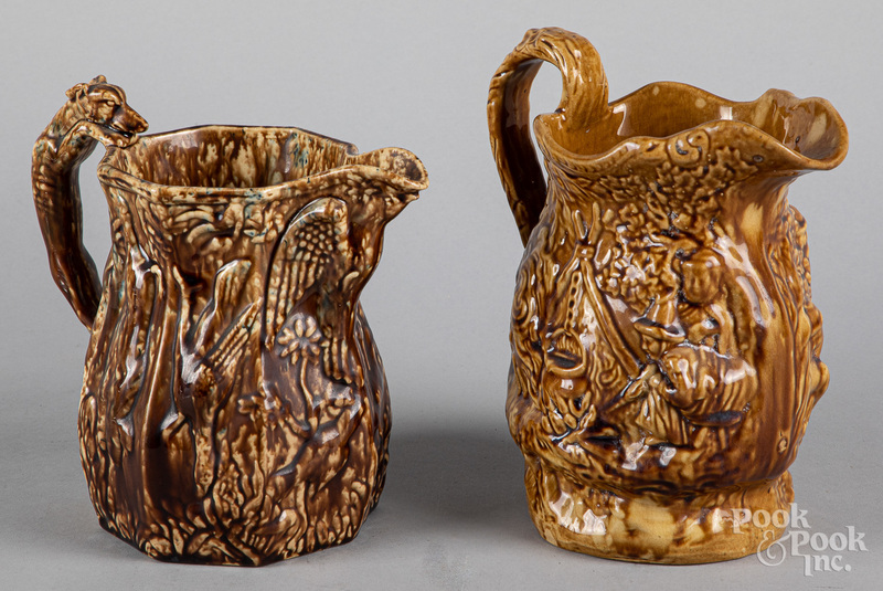 Two Bennington type pitchers, 19th c.