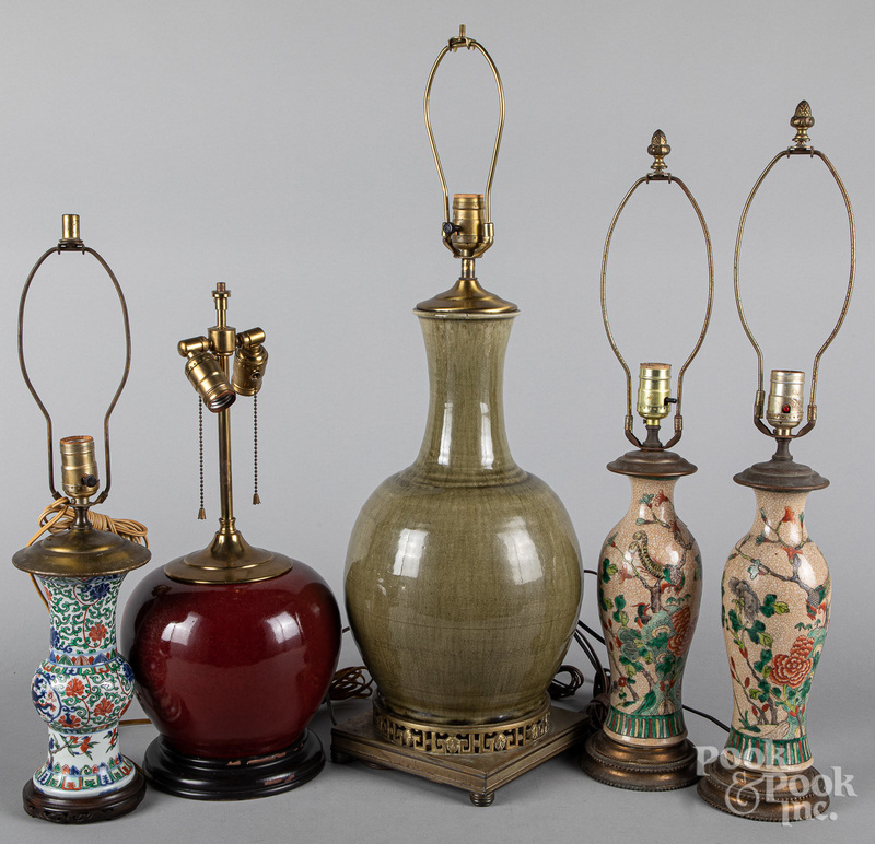 Five Chinese porcelain table lamps