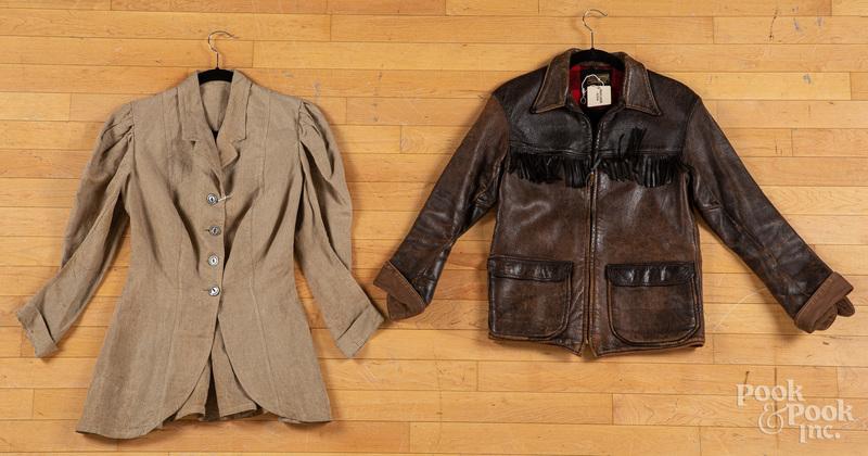 Vintage W. B. Place elk hide jacket, etc.