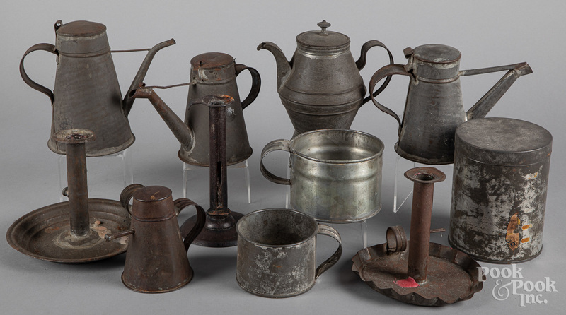 Collection of early tinware, 19th c.