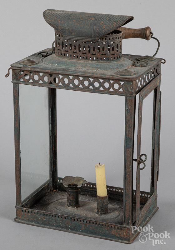 Unusual painted tin lantern, 19th c.