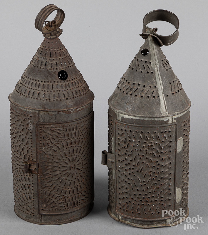 Two punched tin carry lanterns, 19th c.