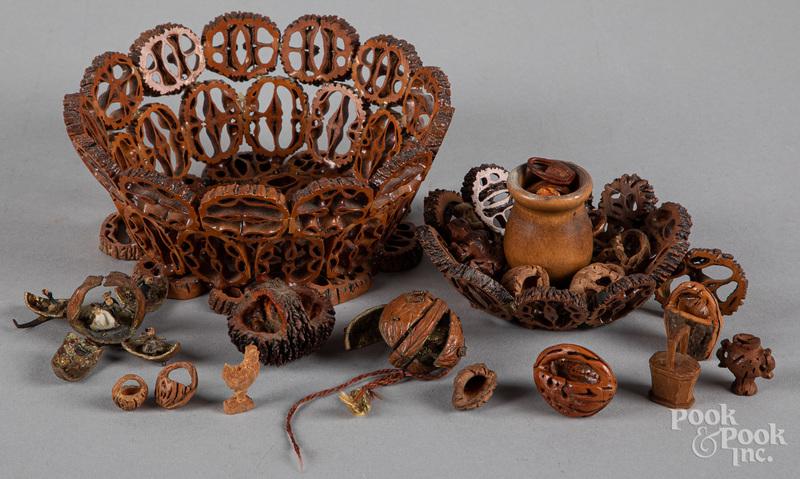 Group of carved basket whimseys