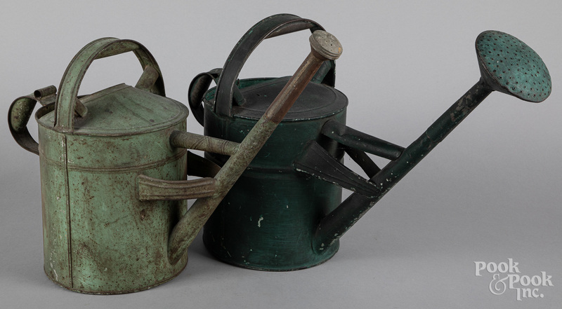 Pair of painted watering cans, early 20th c.