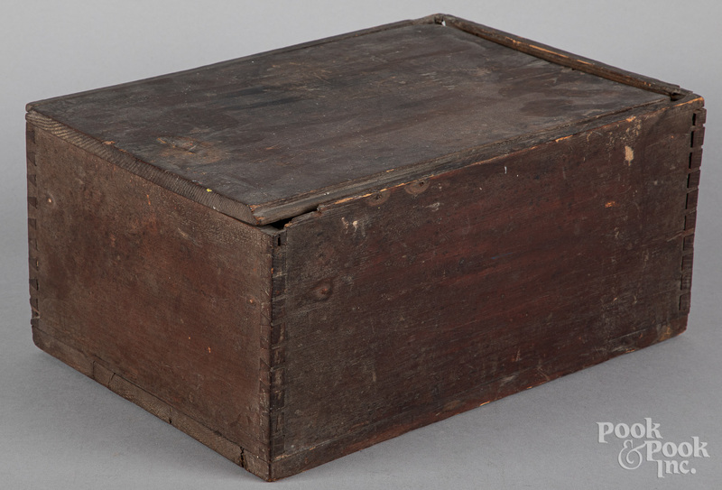 Stained pine slide lid candle box, 19th c.