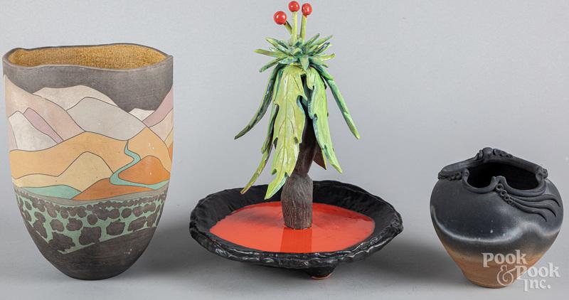 Two Art pottery vases, etc.