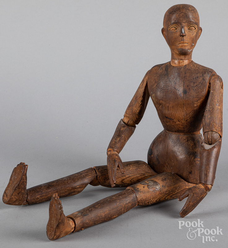 Jointed wood artists' mannequin, 19th c.