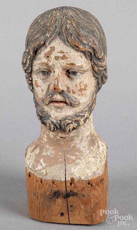 Carved and painted Santos Jesus head, 19th c.