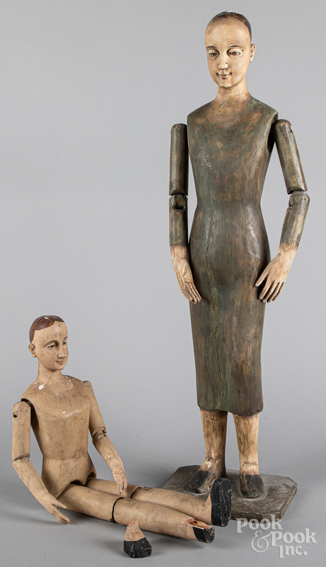 Carved and painted Santos figure, late 19th c.