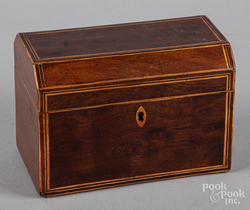 Georgian mahogany tea caddy, 19th c.